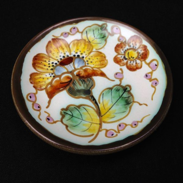 Gouda Pottery Plate / Dish / Bowl / Miniature / Brown / Yellow / Floral / Dutch